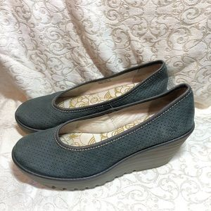 Fly London Yoni Perforated Leather Wedge Slip On